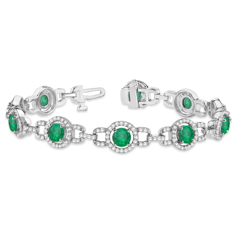 Luxury Halo Emerald & Diamond Link Bracelet 14k White Gold (8.00ct)