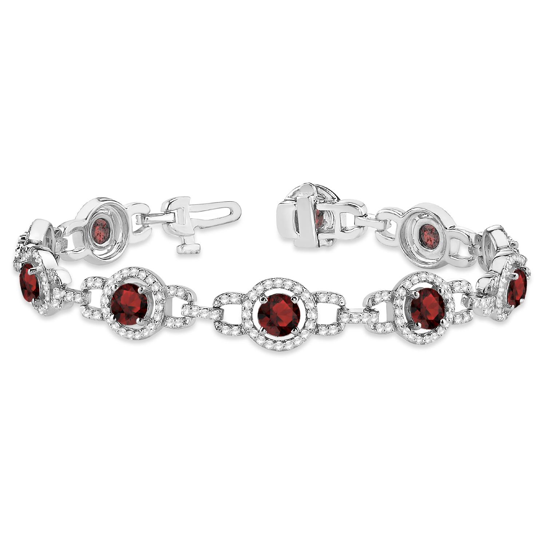 Luxury Halo Garnet & Diamond Link Bracelet 14k White Gold (8.00ct)