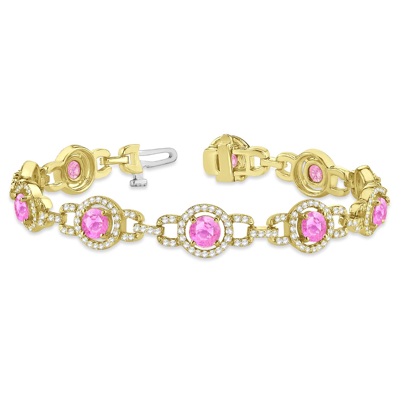 Pink Sapphire Halo Luxury Link Bracelet 14k Yellow Gold (8.00ct)