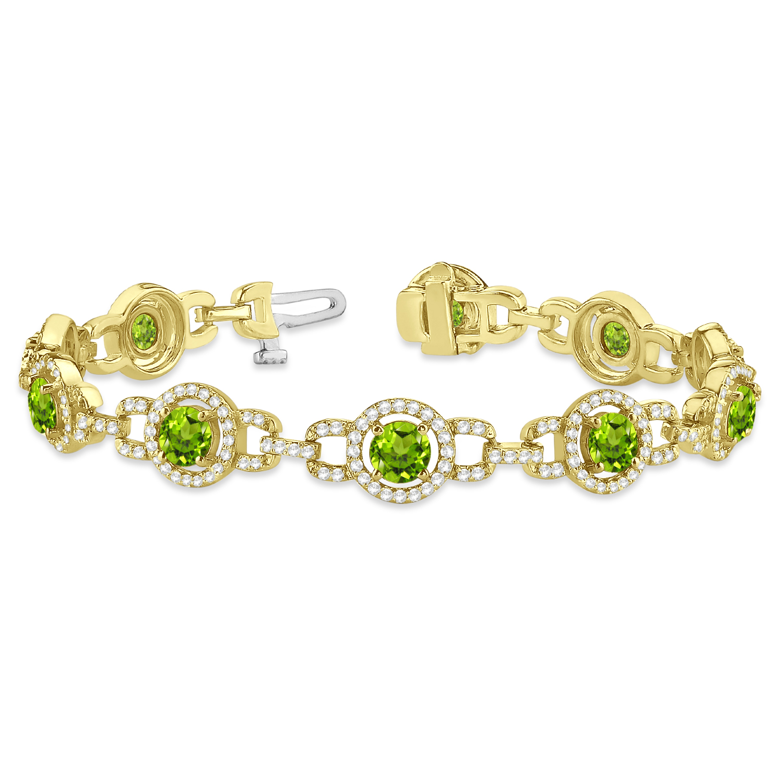 Luxury Halo Peridot & Diamond Link Bracelet 14k Yellow Gold (8.00ct)