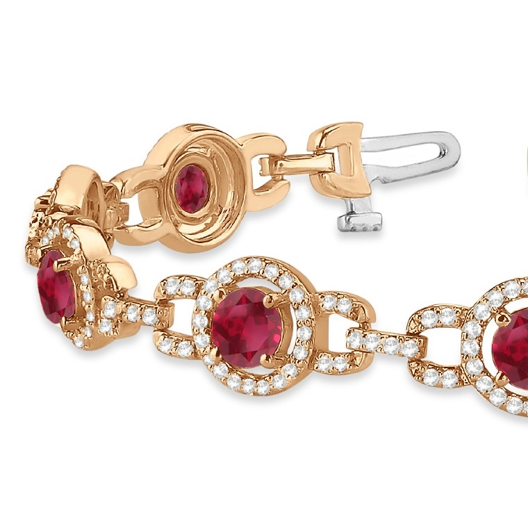 Luxury Halo Ruby & Diamond Link Bracelet 14k Rose Gold (8.00ct)