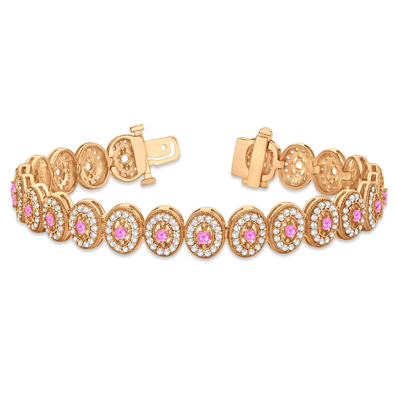Pink Sapphire Halo Vintage Bracelet 18k Rose Gold (6.00ct ...