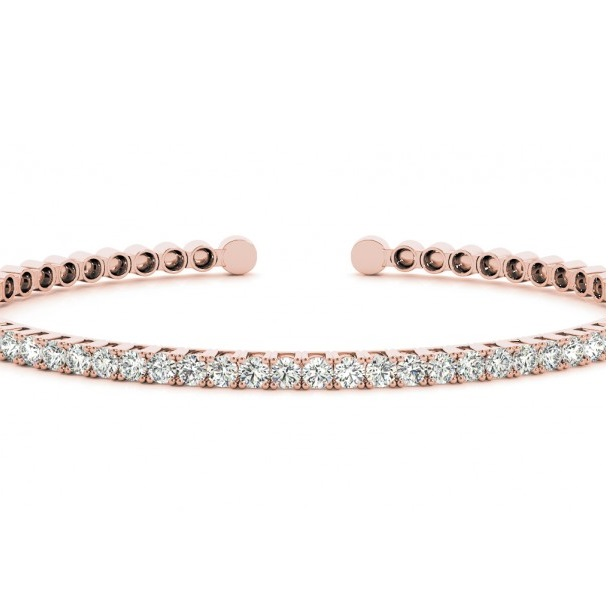 Diamond Open Cuff Bangle Tennis Bracelet 14k Rose Gold (1.05ct)