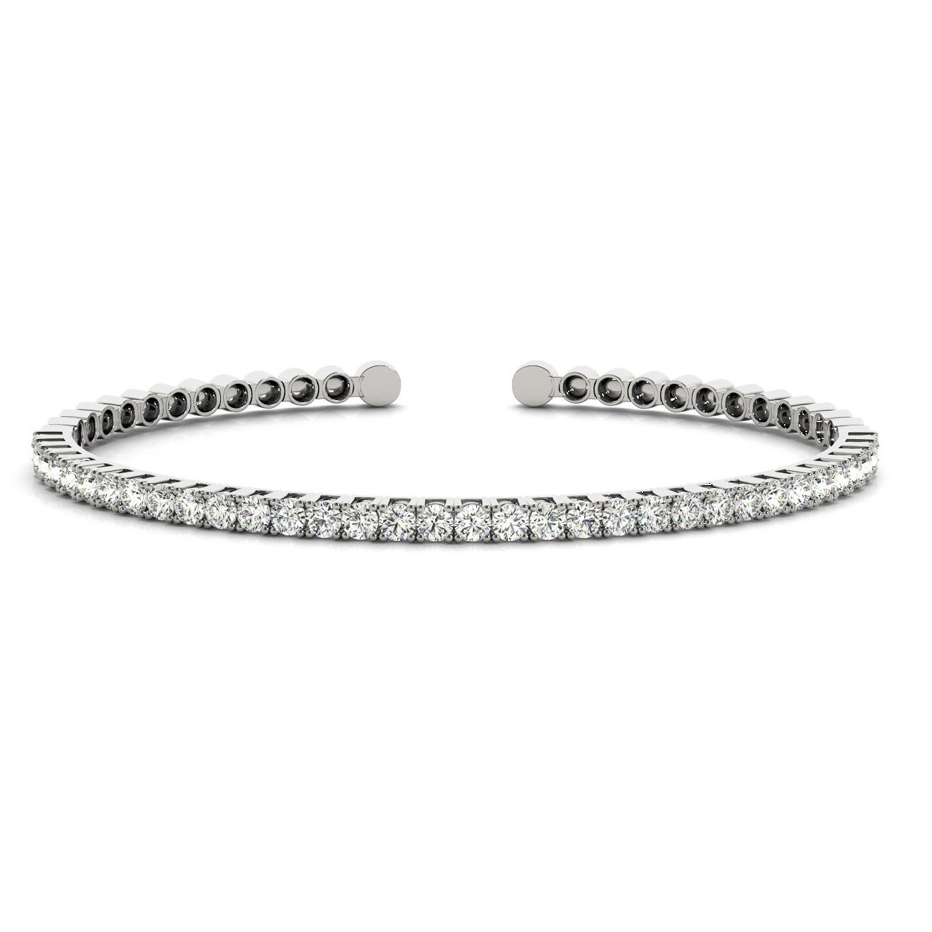 Diamond Open Cuff Bangle Tennis Bracelet 14k White Gold 1
