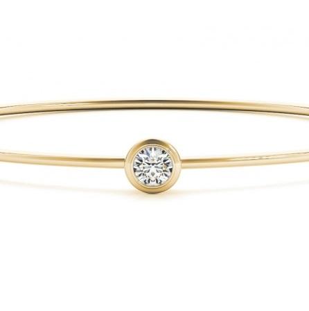 Diamond Bezel Solitaire Bangle Bracelet 14k Yellow Gold (0.35ct)