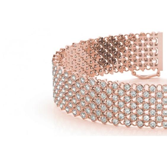 Diamond Multi-Row Wide Luxury Bridal Bracelet 18k Rose Gold (4.16ct)