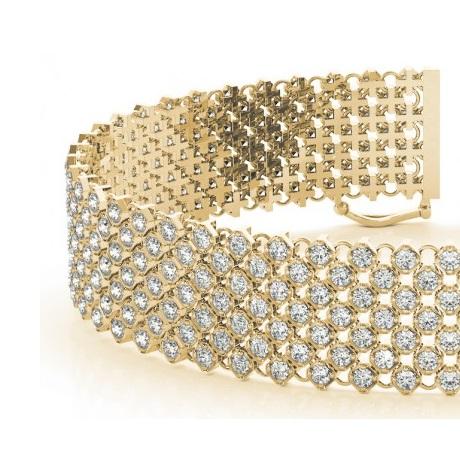 Diamond Multi-Row Wide Luxury Bridal Bracelet 18k Yellow Gold (4.16ct)