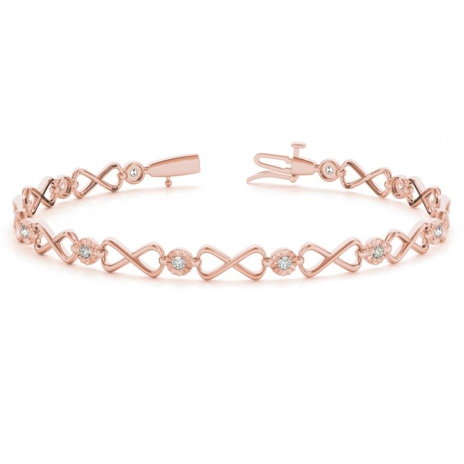 Diamond XOXO Infinity Link Bracelet 14k Rose Gold (0.24ct)