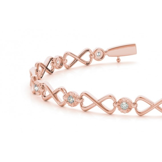 Diamond XOXO Infinity Link Bracelet 14k Rose Gold (0.24ct)