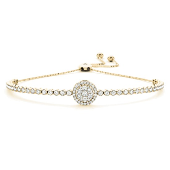 Halo Cluster Bolo Adjustable Bracelet 14k Yellow Gold (1.67ct)