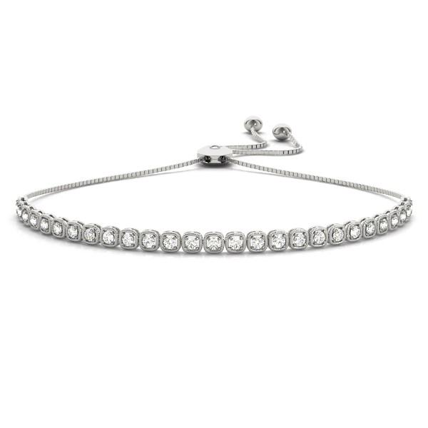 Milgrain Diamond Bolo Friendship Bracelet 14k White Gold (1.78ct)