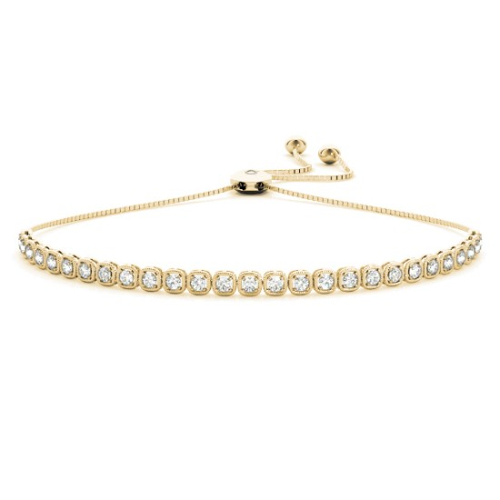 Milgrain Diamond Bolo Friendship Bracelet 14k Yellow Gold (1.78ct)