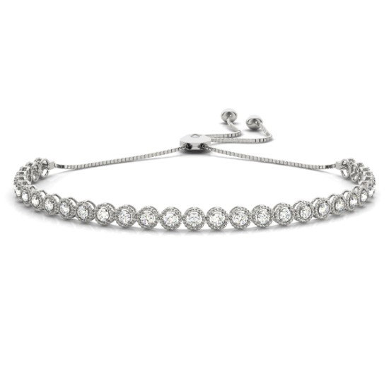 Milgrain Diamond Bolo Bracelet 14k White Gold (1.00ct)