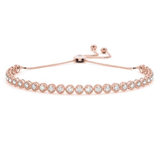 Milgrain Diamond Bolo Bracelet 18k Rose Gold (1.00ct)