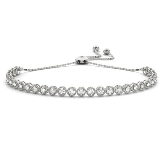 Milgrain Diamond Bolo Bracelet 18k White Gold (1.00ct)