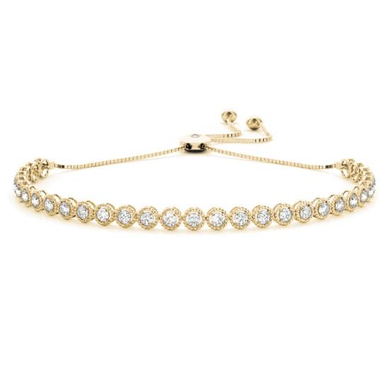 Milgrain Diamond Bolo Bracelet 18k Yellow Gold (1.00ct)