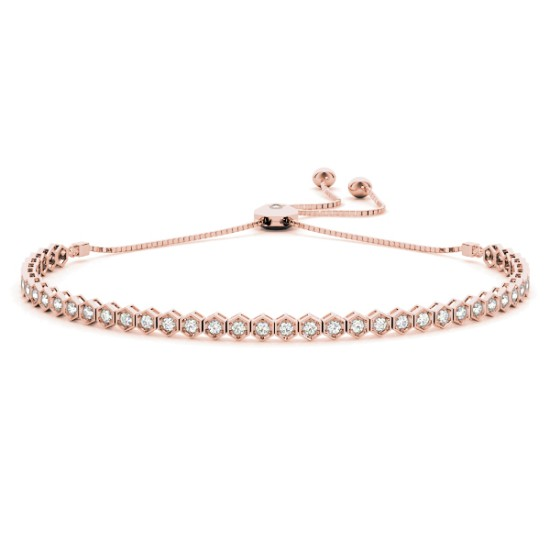 Bolo Adjustable Fashion Tennis Bracelet 14k Rose Gold (0.66ct)
