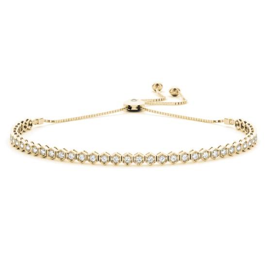 Bolo Adjustable Fashion Tennis Bracelet 14k Yellow Gold (0.66ct)