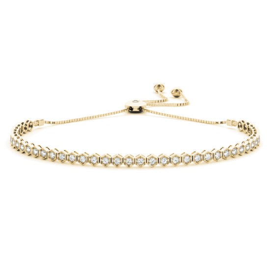 Bolo Adjustable Fashion Tennis Bracelet 18k Yellow Gold (0.66ct)