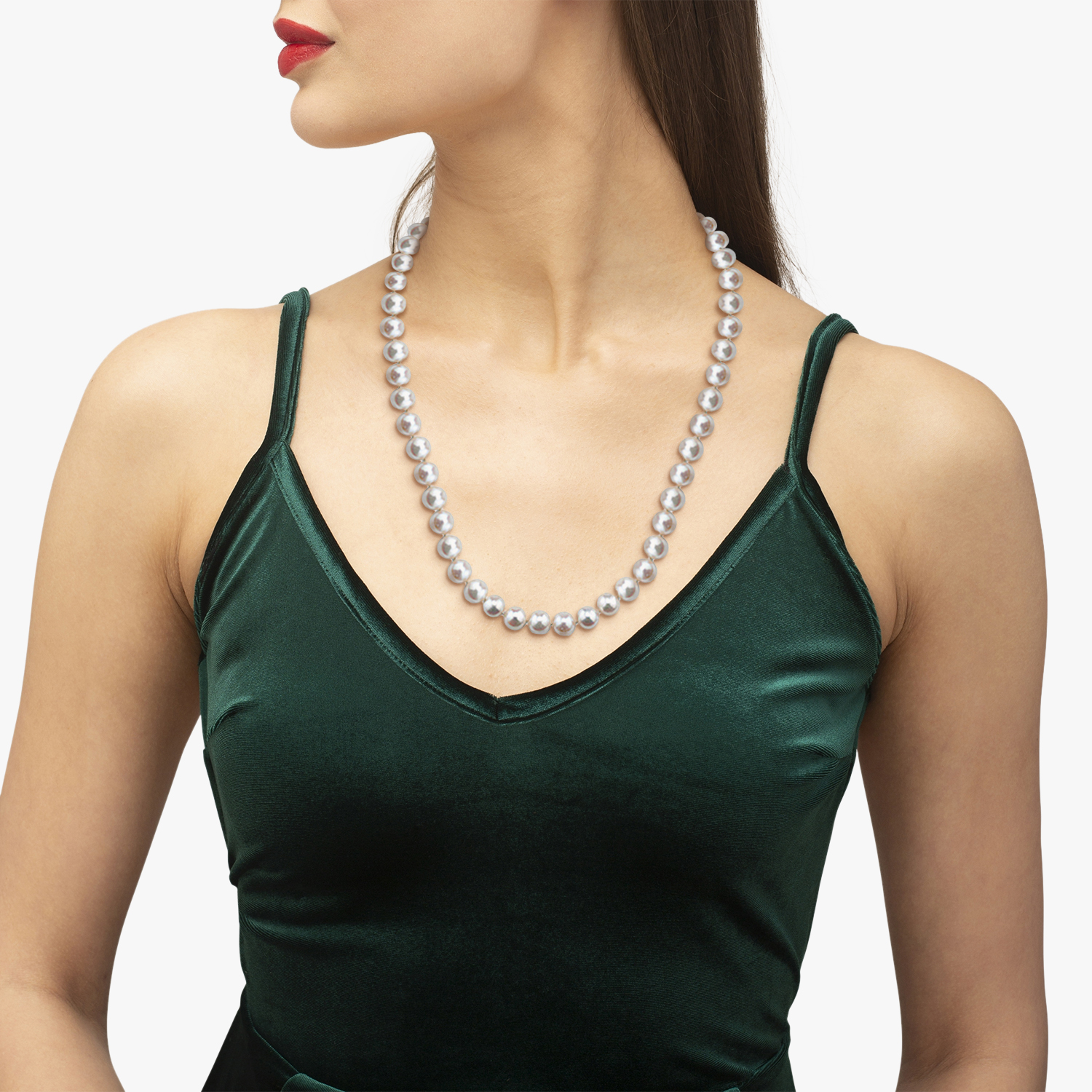 Freshwater Cultured Pearl Necklace with 14k Gold 7.0-7.5mm