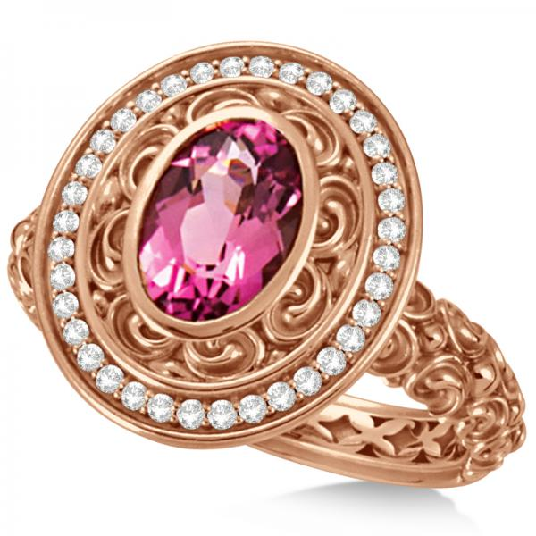 Diamond & Oval Pink Tourmaline Halo Carved Ring 14k Rose Gold (1.20ct)