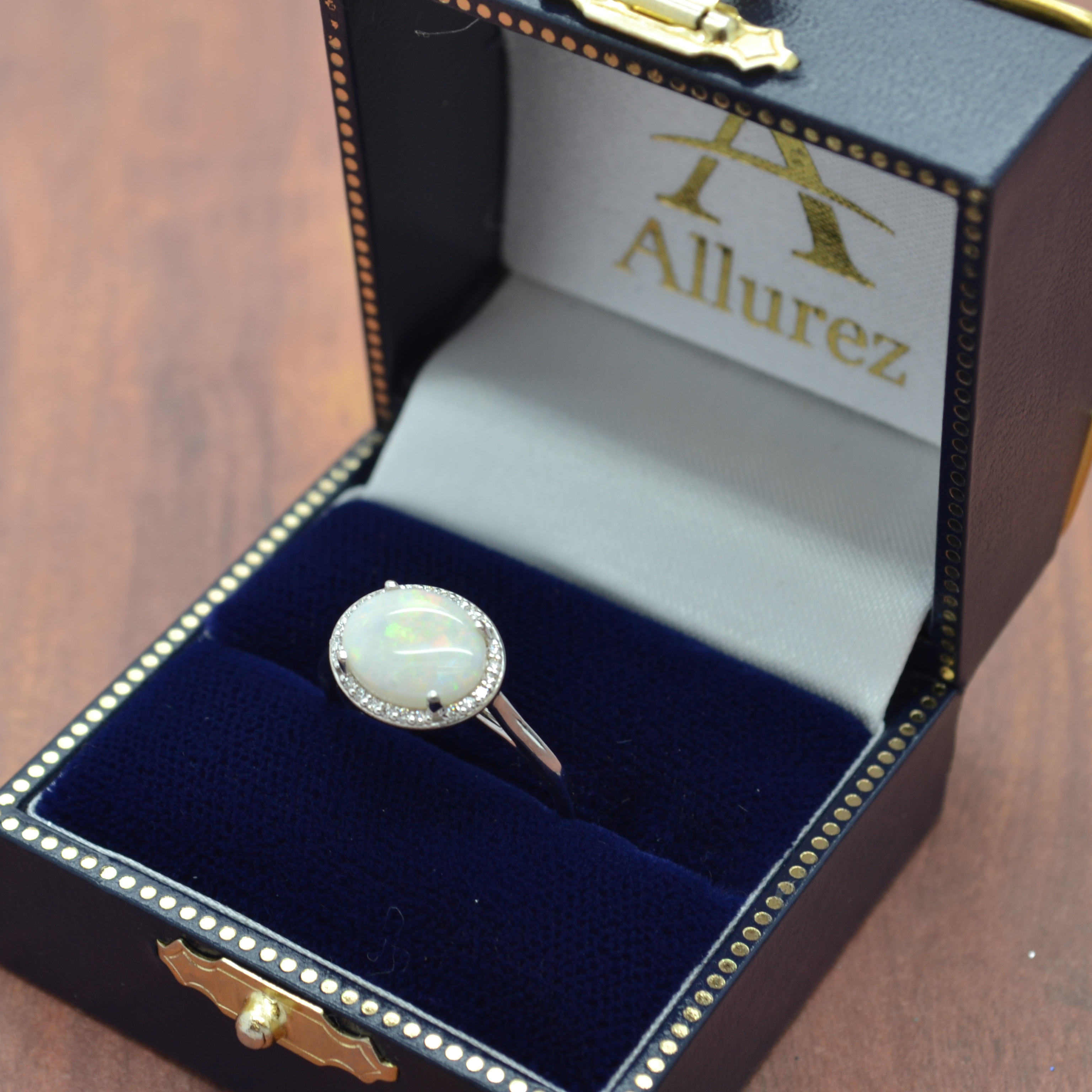 Diamond Accented Halo Opal Fashion Ring 14k White Gold (3.56ct)