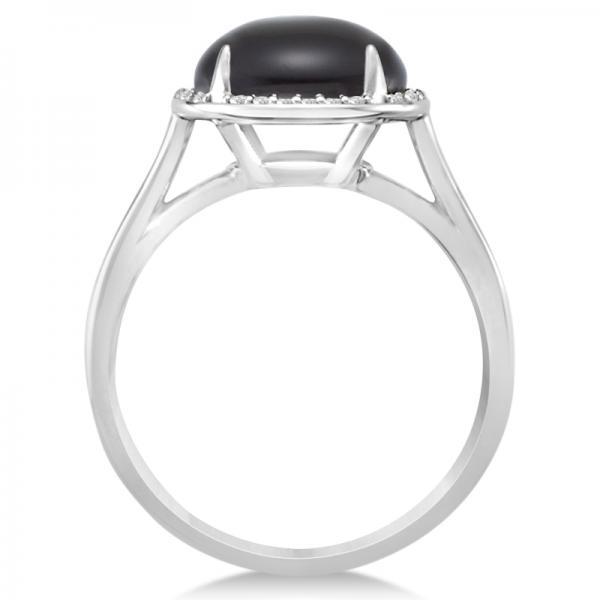 Diamond Accented Halo Onyx Fashion Ring 14k White Gold (3.56ct)