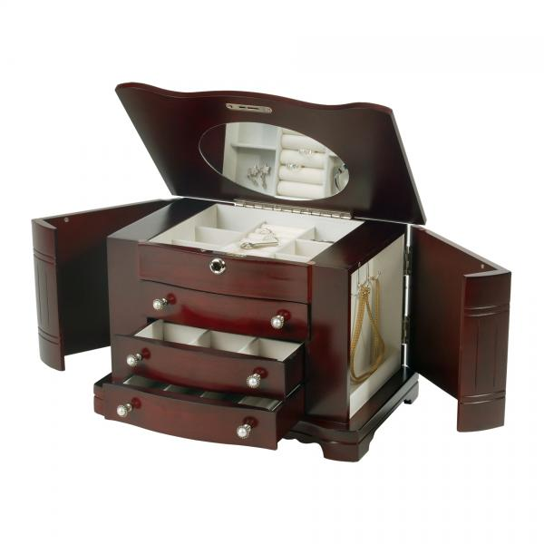 Locking Wooden Jewelry Box in Mahogany Finish, Jewel Storage Case