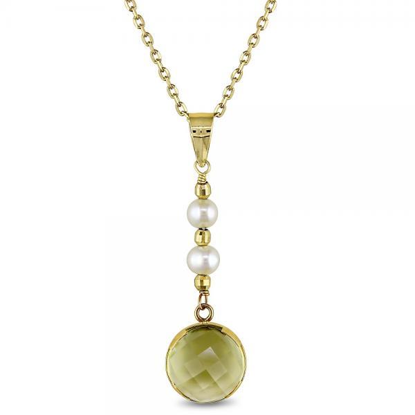 Freshwater Cultured Pearl & Lemon Quartz Necklace 14k Y. Gold 3-3.5mm