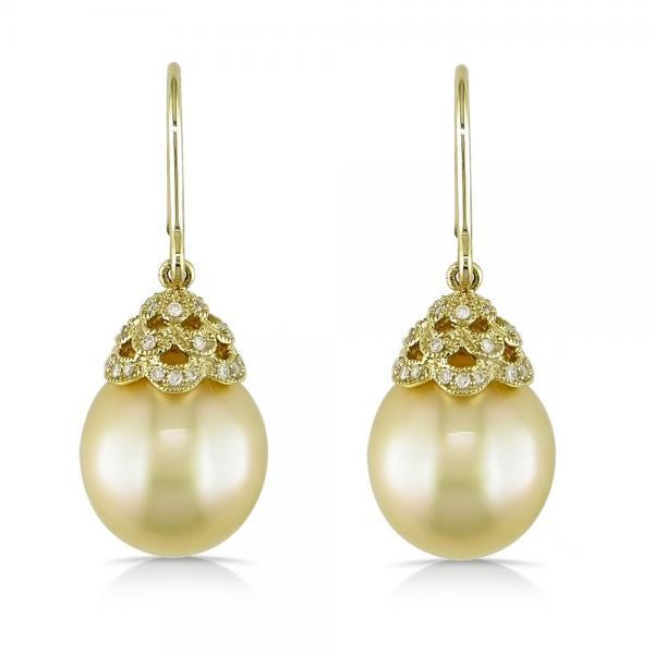 Yellow South Sea Pearl & Diamond Drop Earrings 14k Y. Gold 11-12mm