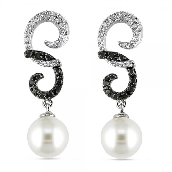 Swirl Pearl Earrings w/ Black & White Diamonds 14k W. Gold 7-7.5mm