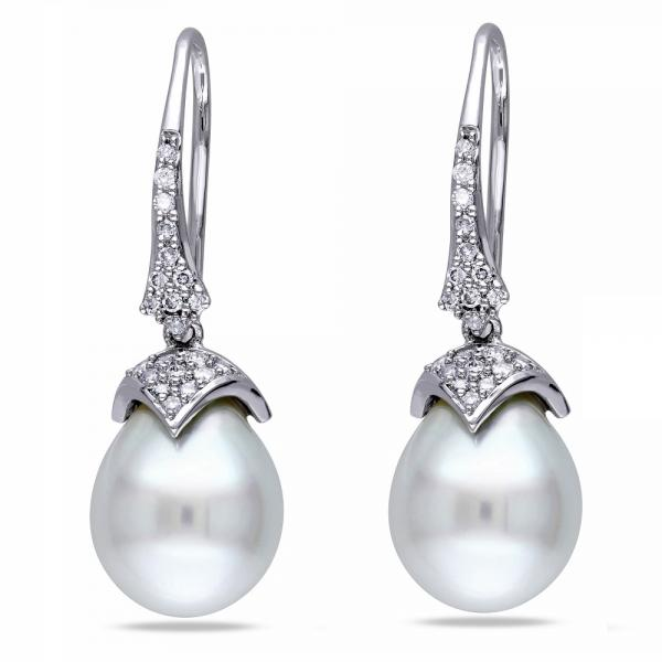 White South Sea Pearl & Diamond Drop Earrings 14k White Gold 9-9.5mm