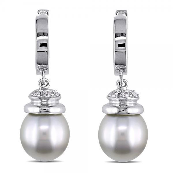 Tahitian Cultured Pearl Cuff Earrings w/ Diamonds 14K W. Gold 9-9.5mm