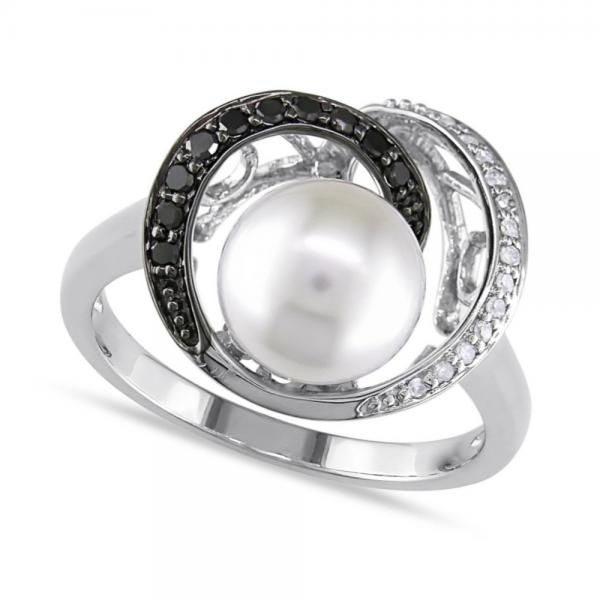Pearl Swirl Ring w/ White & Black Diamonds 14k White Gold 8-8.5mm