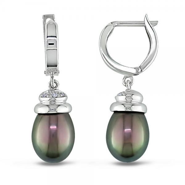 Black Freshwater Pearl Earrings w/ Diamonds 14k White Gold 9-9.5mm