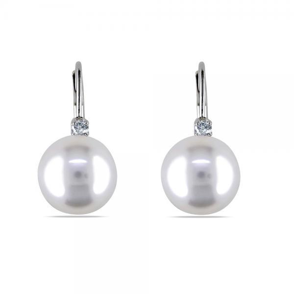 White South Sea Pearl Earrings w/ Diamonds 14k W. Gold 9-10mm