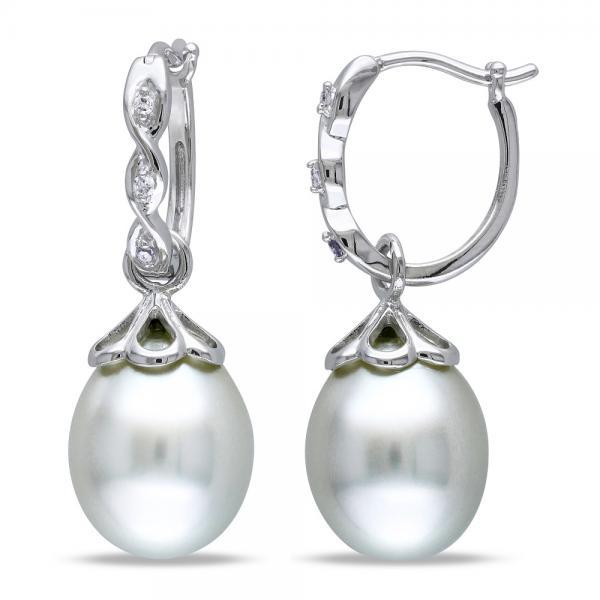 White South Sea Pearl Drop Earrings w/ Diamonds 14k W Gold 9-9.5mm