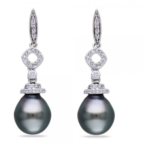Black Tahitian Pearl & Multi Diamond Earrings 14k White Gold 9-9.5mm