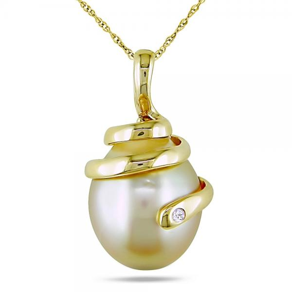 Golden South Sea Pearl Swirl Pendant Necklace 14k Y. Gold 10-10.5mm