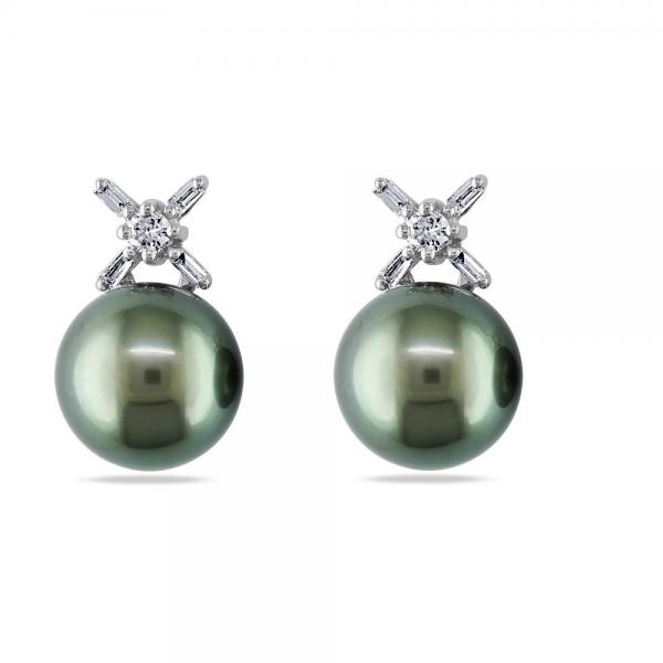 Black Tahitian Pearl Stud Earrings w/ Diamonds 14k White Gold 9.5-10mm