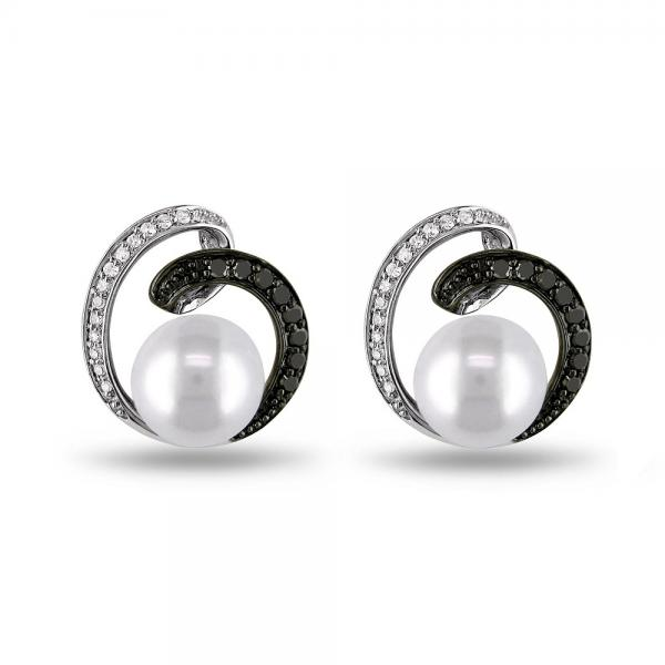 Pearl Swirl Earrings w/ White & Black Diamonds 14k White Gold 8-8.5mm