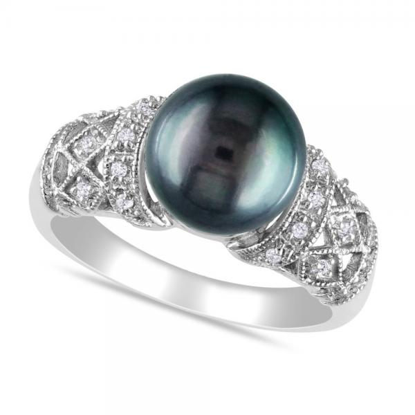 Black Tahitian Pearl Amp Diamond Vintage Ring 14k White Gold