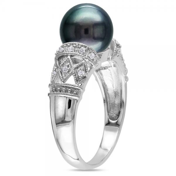 Black Tahitian Pearl & Diamond Vintage Ring 14k White Gold 9-9.5mm