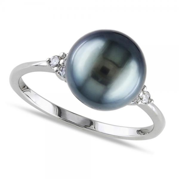 Black Tahitian Pearl Ring Diamond Accented 14k W. Gold 8-8.5mm