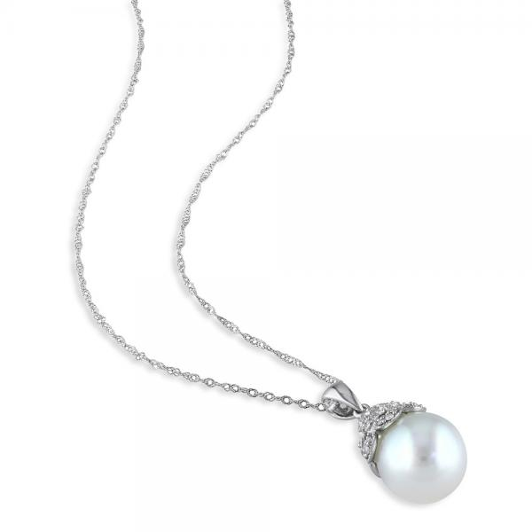 White South Sea Pearl & Diamond Pendant Necklace 14k W Gold 10-10.5mm