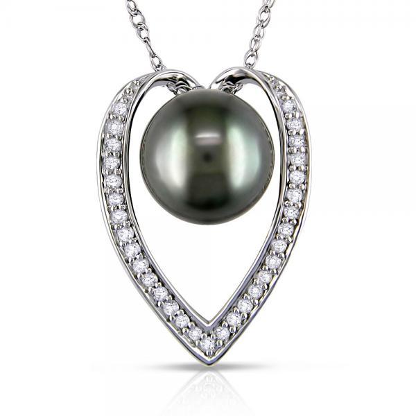 Black Tahitian Pearl & Diamond Heart Pendant Necklace 14k White Gold
