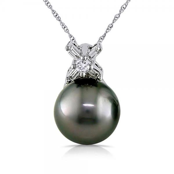Black Tahitian Pearl Pendant Necklace w/ Diamonds 14k W. Gold 0.12ct