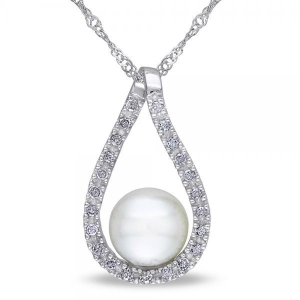 Tear Drop Diamond Pendant w/ Freshwater Pearl 14k White Gold 6.5-7mm