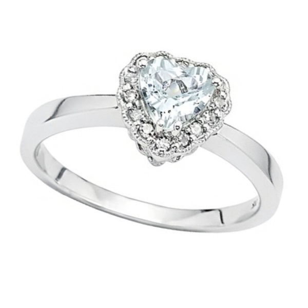 Aquamarine & Diamond Vintage Heart Promise Ring 14k White Gold 0.40ct