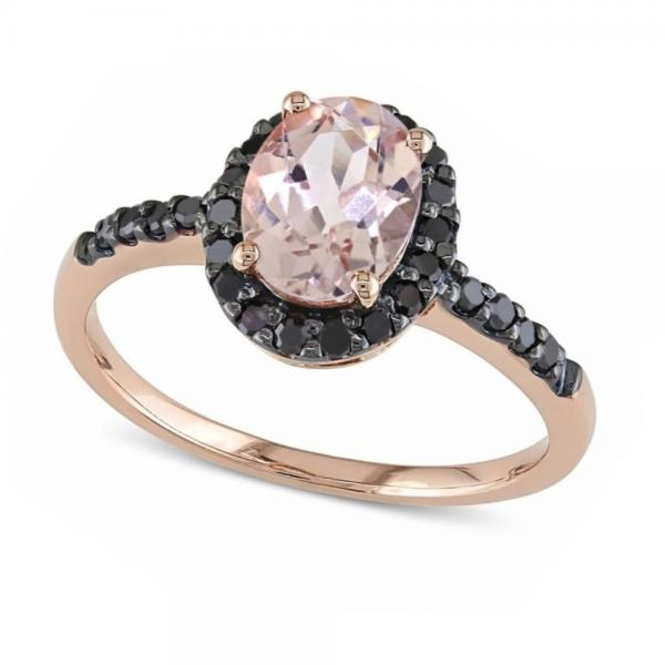 Oval Morganite & Black Diamond Halo Fashion Ring 14k Rose Gold 1.30ct